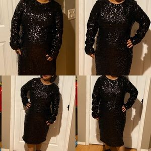 Night party dress black sequin